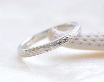 Engraved Antique Reproduction Wheat and Floral Pattern Wedding Band in Sterling Silver or Gold Eco Friendly Recycled Silver or Gold