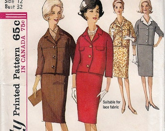 Misses Suit with Detachable Collar UNCUT FF Printed Pattern Simplicity 5590 Size 12 Bust 32 © 1964 - Jacqueline Kennedy
