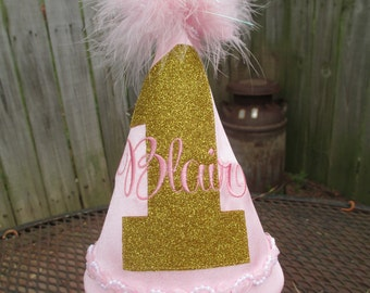 Pink and Gold Birthday Hat, Pink and Gold Birthday, Girl Birthday Hat