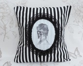 Mrs skull   pillow  cushion black and white stripes