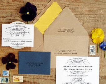 100 Vintage Scroll Wedding Invitations - Black and White - The Renee Collection - By My Lady Dye