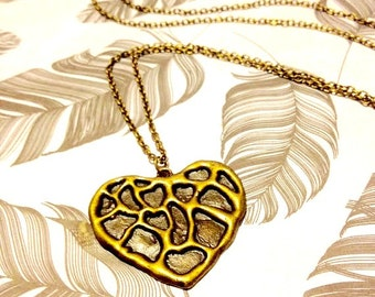 Necklace - Antique Bronze Heart Pendant - Long - Gift Idea