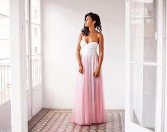 Long detachable pink tulle skirt, dusty pink tulle skirt overlay, blush pink tulle skirt for dress, removable tulle skirt for wedding dress