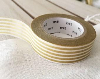 Border Stripe Gold Washi tape Japanese gold masking tape wall decor labeling - PrettyTape