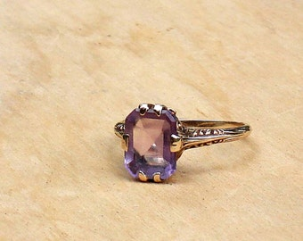 Antique Gold Amethyst Ring ~ Rose de France, Size 6.25