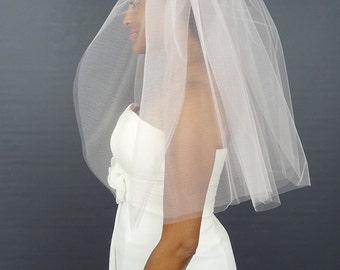Blush Wedding Veil, Cut Edge Veil, 2-Tier Bridal Veil, Wide Width Veil, Pink Veil
