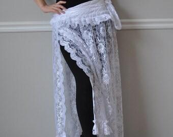 White Crinkled Taffeta /Lace Wrap Ruffled Skirt, Wrap SKIRT, Steampunk, Bohemian, Belly Dance, Wedding, Bridesmaid, Size XS -XL