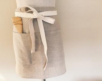 Linen Half Apron- Natural, Waist apron