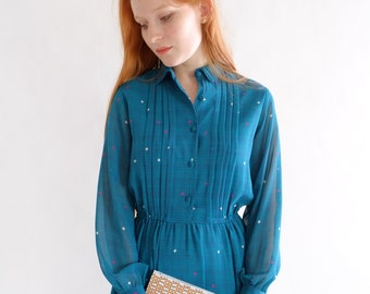 Fluid teal geo dress, Japanese vintage, small - medium