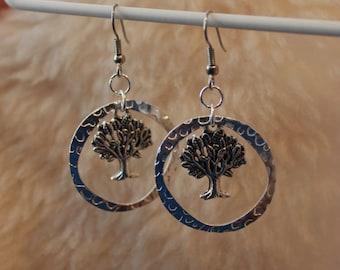 Hypoallergenic Earrings - Textured Tree Hoops - Surgical Steel Earrings, Titanium Earrings, OR Niobium Earrings for Sensitive Ears