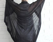 Knitted black open cardigan / Oversized wrap bat sleeve cardigan