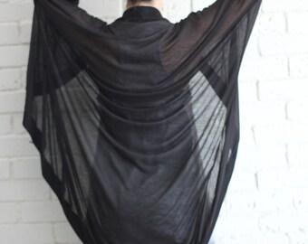 Black Summer kimono cardigan / Black kimono cardigan / open cardigan / black kimono shawl / beach cover up / Gift for her