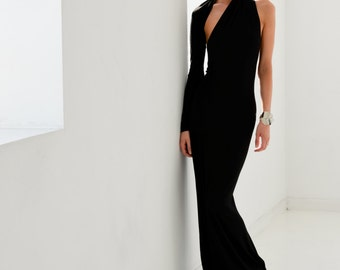Evening Gown / Formal Dress / Prom Dress / One Shoulder Dress / Black Dress / Maxi Dresses / Unique Dress / marcellamoda - MD141