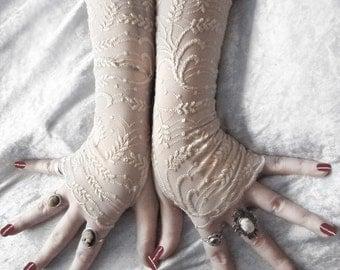 Golden Wheat Lace Fingerless Glove Mittens   Embroidered Nude Beige   Steampunk Wedding Vampire Lolita Fetish Burlesque Romantic Edwardian