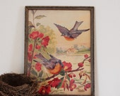 Vintage Bluebird Picture- Bright Print in Painted Frame - 1880 H. Hallett NAMED Blue Birds