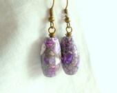 Purple Earrings Mosaic Earrings Stone Earrings Bronzed Earrings Simple Earrings Beaded Earrings Drop Earrings Surgical Steel Hooks Option