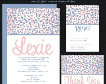Serenity Rose Quartz Confetti Bat Mitzvah Invitation - RSVP Card - Thank You Notes - Guest & Return Addressing - Custom Colors Available