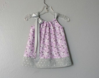 New! Baby Girls Lavender & Grey Sun Dress - Lavender Pillowcase Dress and Bloomers - Flowers and Dots - Size Nb, 3m, 6m, 9m, 12m or 18m