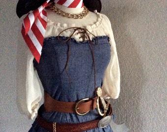 Women's Pirate Costume - Outlaw Pirate Halloween Costume - Denim Blue Jean Mini Dress - Small