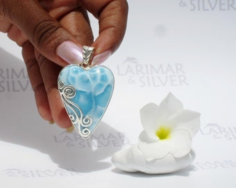 Larimarandsilver pendant, Elfin Queen - sky blue Larimar heart, blue heart, cobalt blue, powder blue, turtleback, handmade Larimar pendant A