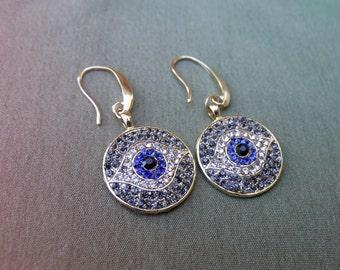 Evil Eye Earrings - Crystal Earrings - Protection Earrings