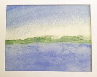 Lavender sage ORIGINAL watercolor abstract painting, matted 16x20, minimalist beach art