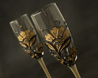 Wedding Glasses, Champagne Flutes, Gatsby Wedding, Hand Painted, Set of 2
