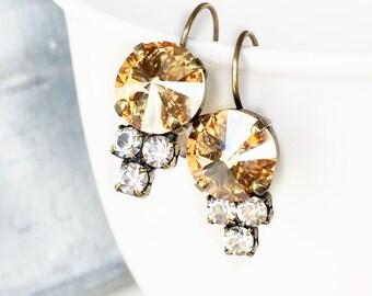 Champagne Wedding Earrings - Bridal Earrings - Bridesmaid Earrings - Dangle & Drop Earrings - Bridesmaid Gift - Christmas Gift for Her