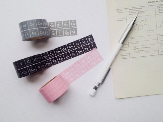 The Periodic Table of Elements Washi Tape - Chemistry Stationary Planner Tape - Science Washi Tape