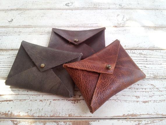Set of 3, slim mens wallet, leather wallet mens, Brown mens wallet, Envelope Case, business cards holder, unique men gift, minimalist wallet