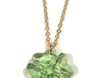 "Swarovski Peridot Clover Pendant with 18"" Gold Chain"