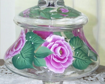 Pink Rose candy dish hand painted