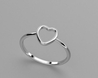 Valentine's Day Heart Ring - Solid 14k, 18k Gold, Platinum Stackable Ring. Wife Gift. Anniversaries & Weddings