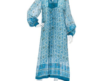 Vintage 70's Indian Sheer Cotton Block Floral Print Hippie Boho Gypsy Festival Tiered Tent Midi DRESS