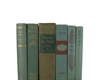Green Books,   Vintage Decorative Books,  Decorative Books, Shabby Chic Decor, Vintage Books, Home Decor, Wedding Decor,  Photo Prop