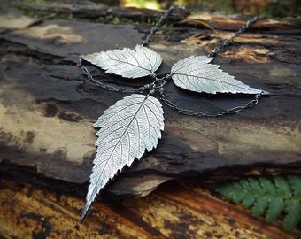 Rubus spectabilis - Salmon Berry Leaves -  Fine Silver Statement Necklace  by Quintessential Arts