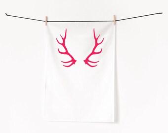 Deer Antlers neon pink / Screen printed tea towel