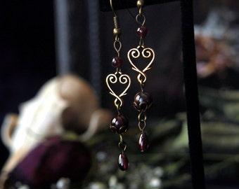 Bleeding Heart Antique Brass Garnet Earrings