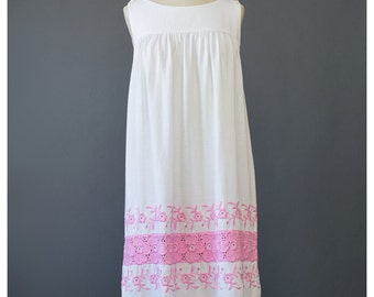 60s Sundress Mexican Dress Oaxacan Dress Floral Embroidered Dress Pink White Cotton Tent Dress 1960s Shift Dress Boho Hippie Festival Dress