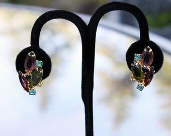 Lovely Rhinestone Earrings with Multicolored Stones - Juliana Style, 1950s