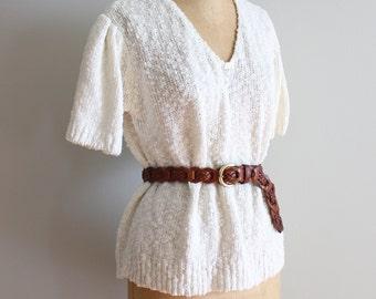 10 DOLLAR SALE! // vintage 80s ivory cotton sweater - summer sweater / short sleeve sweater - ivory cotton sweater / white cotton sweater