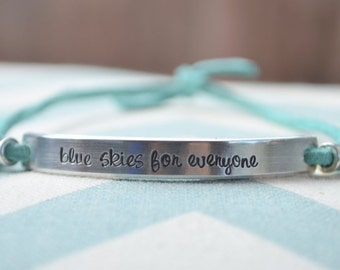 Personalized Leather Wrap Hand Stamped Bracelet with silver beads - You pick the phrase