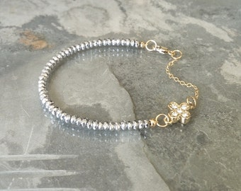 Gold Titanium Silver Hematite Bracelet with CZ Clover Charm
