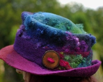 Evolution - Handmade felt trilby hat MADE to ORDER - Hand dyed felted wool - colorful rainbow multicolour wearable art headwear