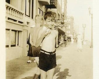 "Vintage Photo ""Summer Fun"" Bathing Suit Beach Snapshot Old Antique Photo Black & White Photograph Found Paper Ephemera Vernacular - 169"