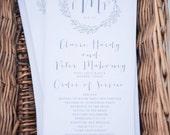 Printable Wedding Program - Calligraphy Monogram