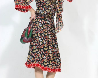 Night Market Mood Bohemian Vintage Floral Dress with Scarf