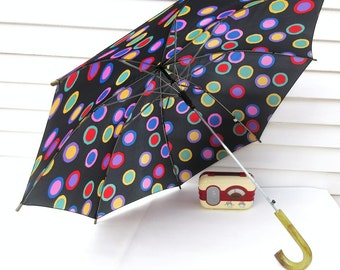 Vintage Mod Umbrella, Walking Cane, Polka Dot Fabric, Sun Parasol, Lucite Handle
