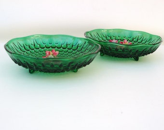Vintage Green Glass Compote Bowls, Footed Bowls, Bubble Glass Dishes, Anchor Hocking Green, Set of 2
