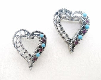 Vintage Heart Brooches | Lingerie Pins | Rhinestones Hearts | Silver Hearts - Set of 2